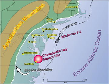 Geotimes January 2004 Coring the Chesapeake Bay Impact Crater