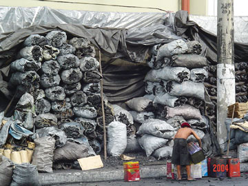 A charcoal market in Manaus, Brazil
