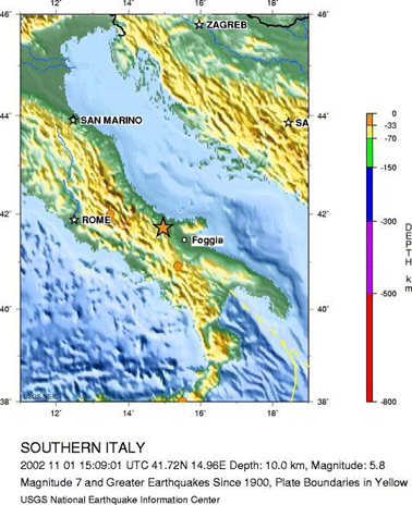 Map Of Italy For Children.Geotimes November 2002 Natural Disasters Strike In Italy